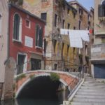 venice street, washing line crossing canal