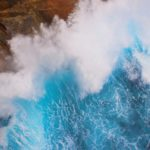 bright blue crashing wave