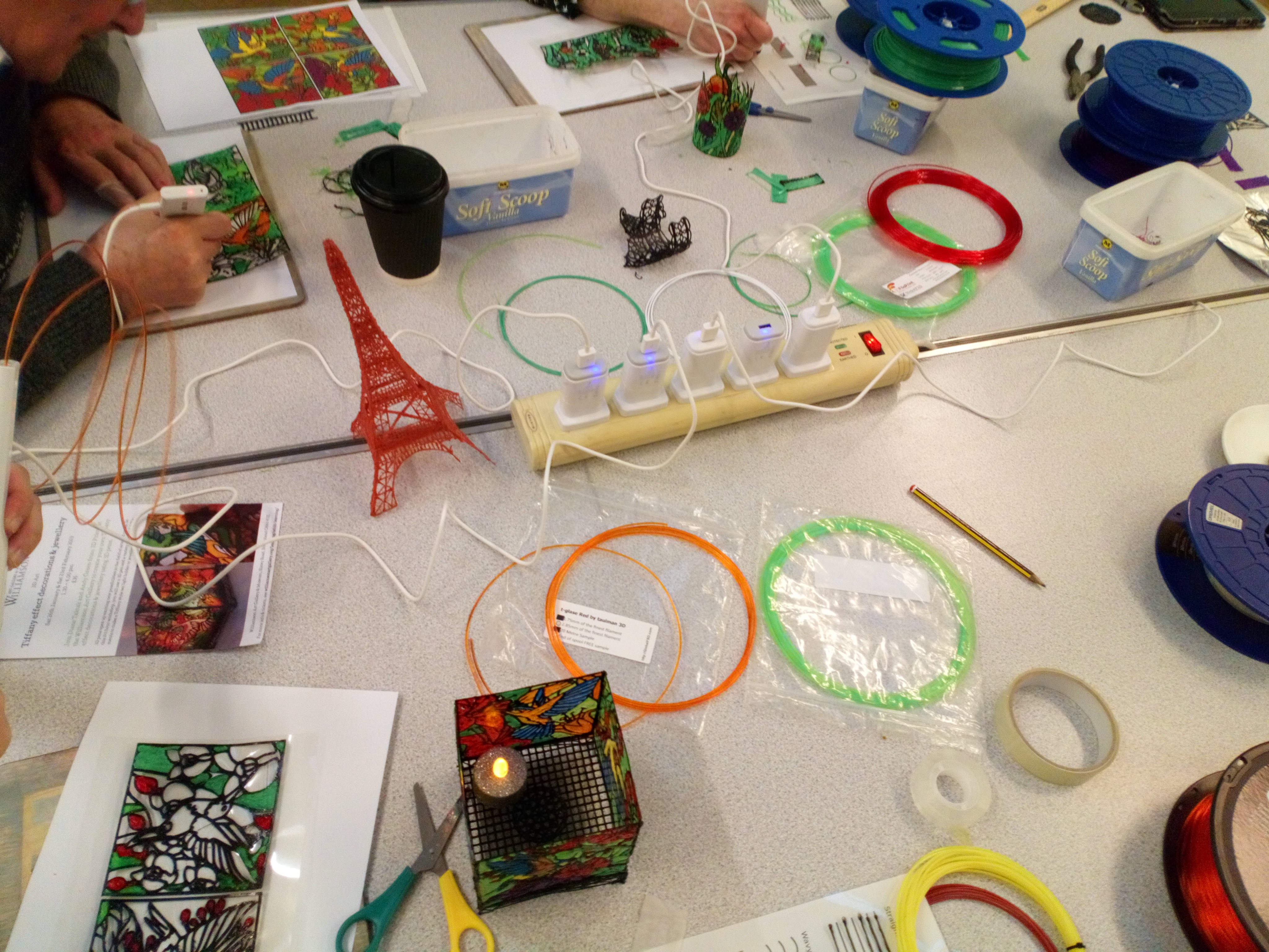Materials for 3D pens laid out