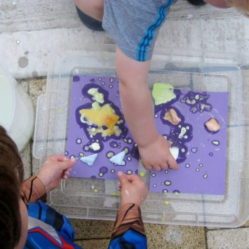 Fun with frozen icy paint in our Make and Explore session