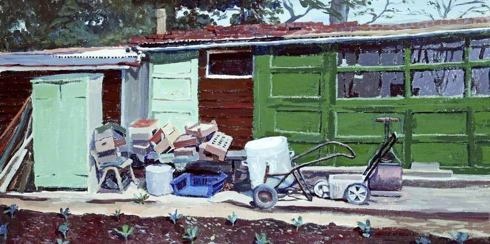 A painting by Mavis Blackburn of a large shed building. Most of the walls are painted in shades of green. Outside is a selection of various objects and a lawnmower.