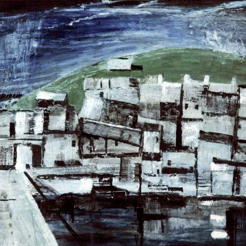 Grey, cube and rectangular shapes box-shaped buildings stacked on top of each other with a green hill in the background against a dark sky in broad brushstrokes.