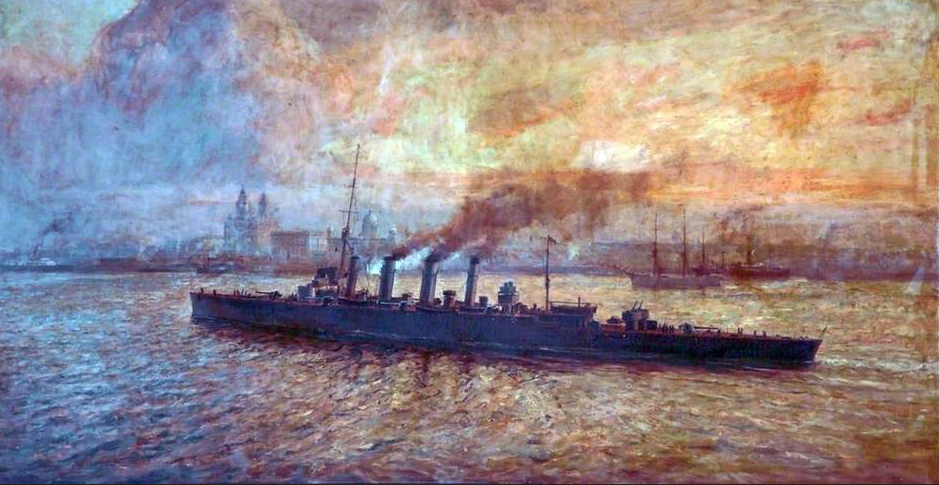 painting of steam ship sailing by an industrial landscape and sunset