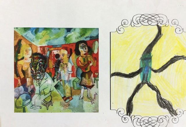 two images: a reproduction of a painting on the left, and a child's drawing in response on the right