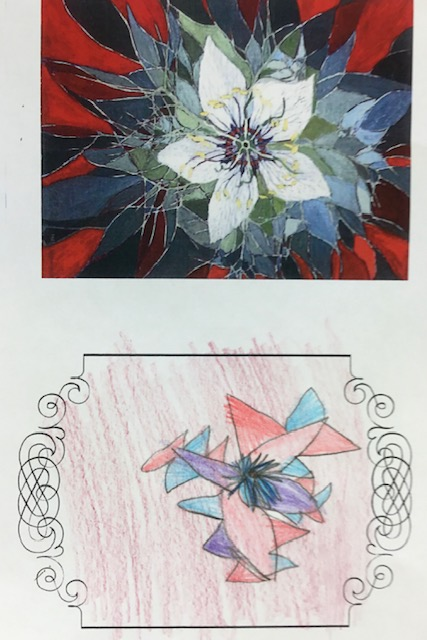 two images: a reproduction of a painting above, and a child's drawing in response below