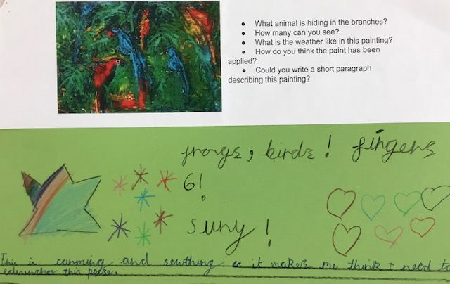 a series of questions and a child's response on green paper