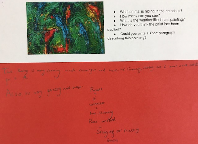 a series of questions about a painting with a child's responses written on red paper.