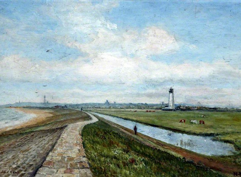 embankment: sea, path, field, lighthouse