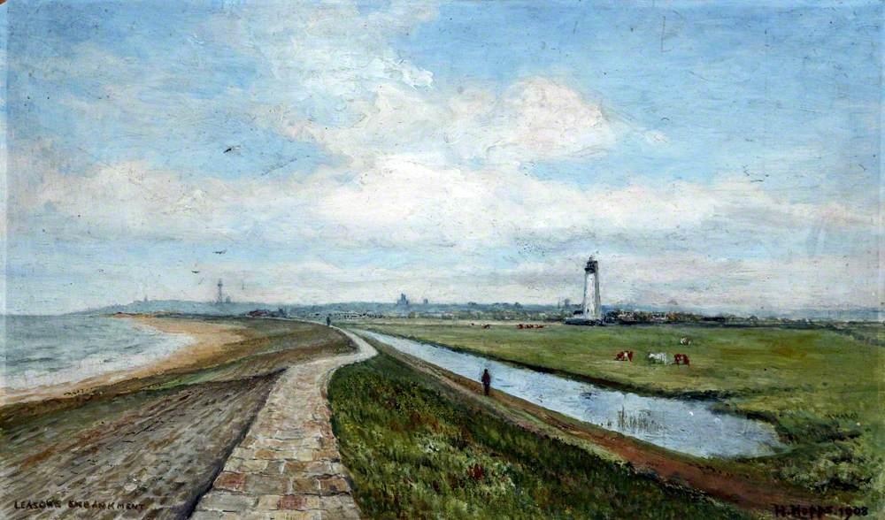 embankment: sea, path, field, lighthouse