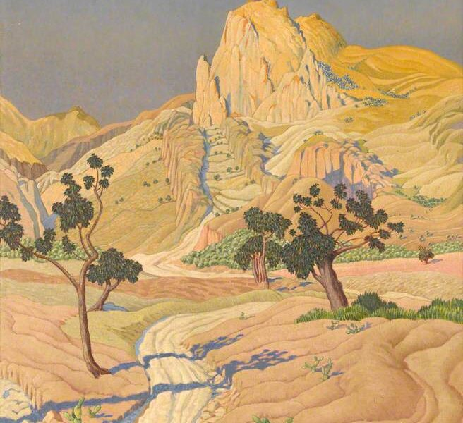 """A scene which appears to be in a hot country. We see a road leading towards a mountain; all of the land is shades of light yellow. The sky is blue. There are two spindly trees, and another casting shadows from outside of the picture frame. Featured image for """"Your Williamson"""""""
