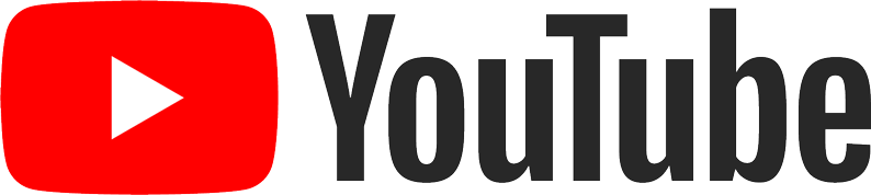 "YouTube logo, black text reading ""YouTube"" with a red rectangle with a white triangle pointing right in the centre"