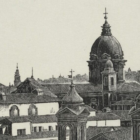 black and white print of rooftops, include a church dome