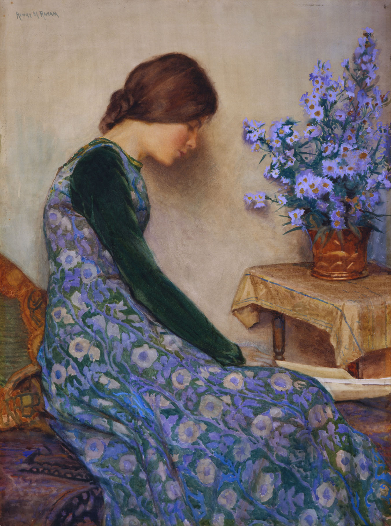 Watercolour painting of a profile view of a seated woman. She has auburn hair tied at her neck, long dark-green sleeves, but the body of her dress is a floral, purpleish-blue pattern. She appears to be sleeping with her head against the wall and is facing a vase of flowers, which are the same colours as her dress.