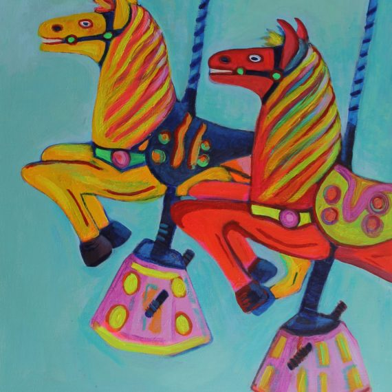 painting of two carousel horses in red and yellow against blue blackground