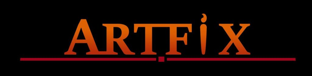"""black background with the work """"Artfix"""" in orange. the i is stylised to look like a paintbrush"""