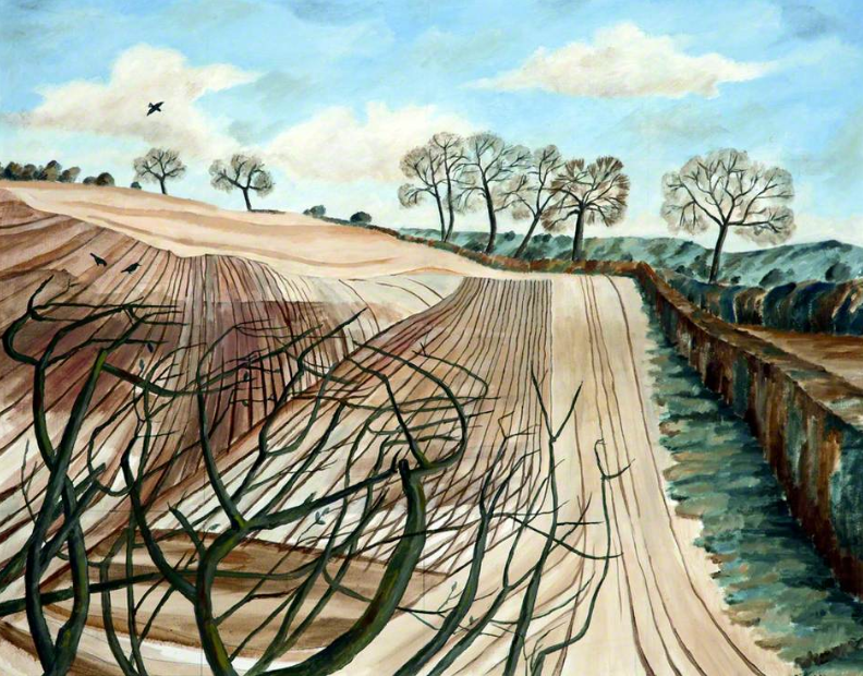 painting of a ploughed field with bare tree