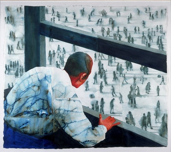 a watercolour of a man in a white shirt leaning out of a window looking over a square filled with people, shown in shades of grey, walking in various directions.