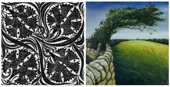 two images; black & white pattern tile + painting of a windswept tree