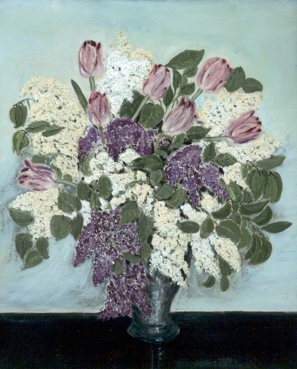 a painting of a vase which is very full of flowers. The flowers are white, purple and pink, with many green flowers. The background is light blue and the surface is black.