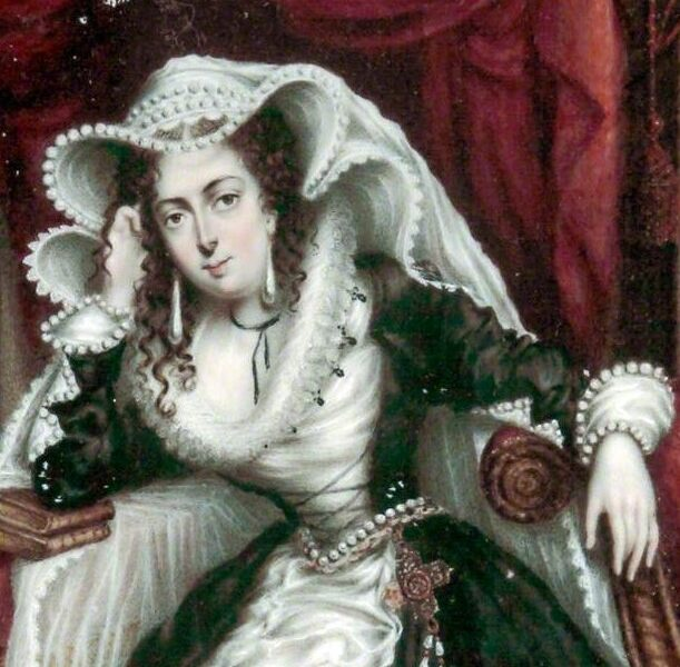 painting of woman in florid headdress and green dress
