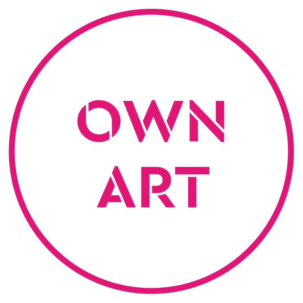 Pink text saying Own Art in a circle