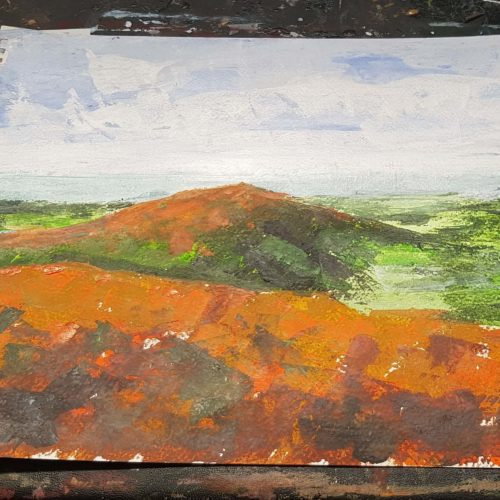Mountain drawn in brown