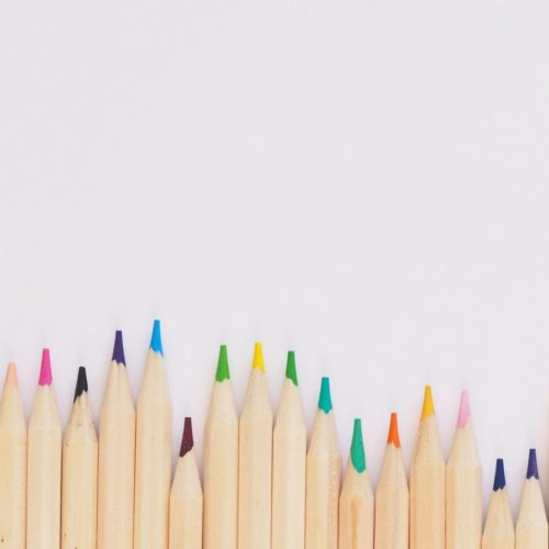 a row of wooden pencils against a white backdrop. The lead of each pencil is a different colour. Each pencil is stick up from the bottom of the image to a different height.