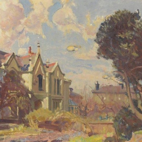 Caroline Place, Oxton in wartime by Will Penn