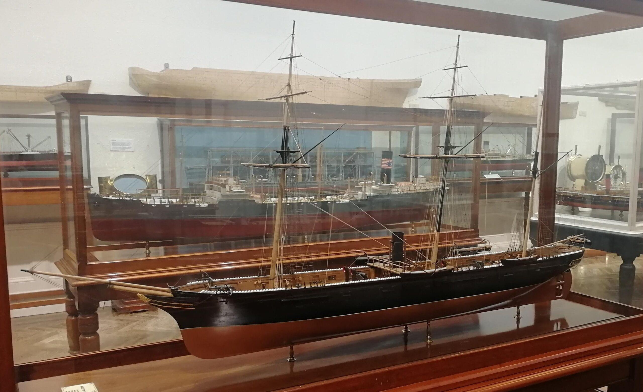 ship model in a glass case