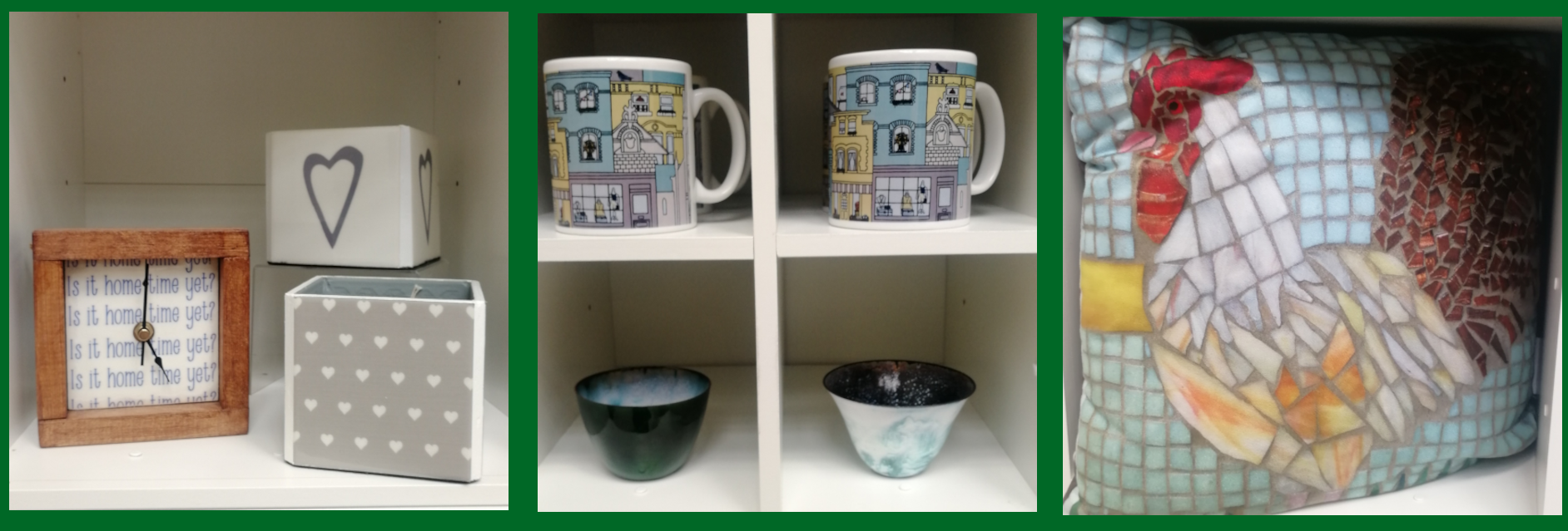 three square images of products for sale in our shop - a clock, two mugs and two small decorative bowls, and a cushion with a hen on it.