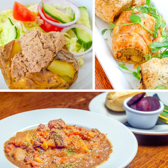 Composite image of three food photographs. Top left is a tune-filled jacket potato, top right are savoury pastries, and across the bottom is a bowl of thick stew