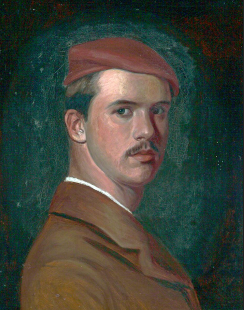 Self portrait of artist in brown jacket and red cap